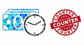 Mosaic Cash Credit And Rubber Stamp Seal With Counter Caption. Mosaic Vector Is Designed With Cash C poster