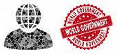 Mosaic Global Politician And Grunge Stamp Seal With World Government Text. Mosaic Vector Is Designed poster