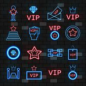 Vip Neon Icons Set. Outline Set Of Cute Vip Neon Icons On The Dark Brick Wall For Web Design. poster