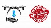 Mosaic Unload Drone And Grunge Stamp Seal With New Arrival Text. Mosaic Vector Is Created With Unloa poster