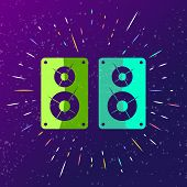 Sound Speaker Icon Singing Loudly With Rays. Music Sound Box Sign For Club Party, Trampoline Park, D poster
