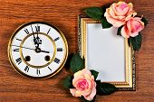 Picture Frame With Rose Flowers, Vintage Clock Symbol Of Time, Remind Of Past And Future. Background poster