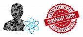 Mosaic Physicist Science And Corroded Stamp Seal With Conspiracy Theory Text. Mosaic Vector Is Creat poster