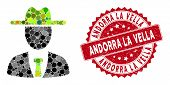 Mosaic Farmer Boss And Grunge Stamp Seal With Andorra La Vella Caption. Mosaic Vector Is Composed Fr poster
