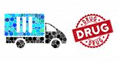 Mosaic Analysis Delivery And Rubber Stamp Watermark With Drug Text. Mosaic Vector Is Composed With A poster