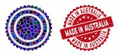 Collage Round Rosette Seal And Grunge Stamp Seal With Made In Australia Text. Mosaic Vector Is Forme poster