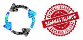 Mosaic Rotate Cw And Grunge Stamp Seal With Bahamas Islands Caption. Mosaic Vector Is Formed With Ro poster