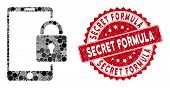 Mosaic Lock Smartphone And Corroded Stamp Seal With Secret Formula Text. Mosaic Vector Is Designed W poster