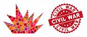 Mosaic Boom Explosion And Rubber Stamp Watermark With Civil War Caption. Mosaic Vector Is Created Wi poster