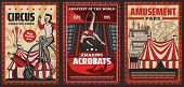 Circus Show Of Acrobats Vector Design Of Carnival Or Amusement Park Retro Posters. Circus Top Tents  poster