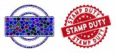 Collage Round And Rectangle Frame And Grunge Stamp Seal With Stamp Duty Text. Mosaic Vector Is Compo poster