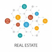 Real Estate Presentation Template, Cover Layout And Infographics. Property, Realtor, Location, Prope poster
