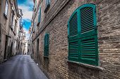 Hdr Deep Narrow Alley Ground Floor Window House . poster