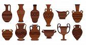Greek Clay Pots. Illustration Of Clay Roman Traditional Vase. Ancient Vase Set Ancient Urn, Amphora, poster