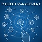Project Management Concept, Blue Background. Project Presentation, Meeting, Workflow, Risk Managemen poster