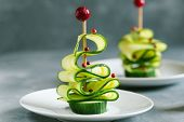 Cucumber Christmas Tree, Funny Food For Kids. Christmas Food Background. poster