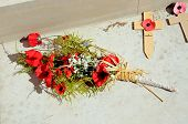Poppy Bouquet In The Inner Circle Of The Armed Forces Memorial, National Memorial Arboretum, Alrewas poster