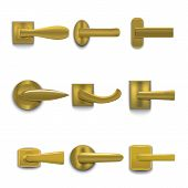 Realistic 3d Detailed Shiny Golden Door Handles Set Interior House Element. Vector Illustration Of H poster