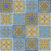 Portuguese Azulejo Ceramic Tile Pattern. Mediterranean Traditional Ornament. Italian Pottery Or Span poster