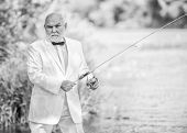 Hobby And Recreation. Fishermen In Formal Suit. Successful Catch. Business Success. Mature Man Fishi poster