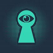 Green Keyhole With Eye Icon Isolated On Blue Background. The Eye Looks Into The Keyhole. Keyhole Eye poster
