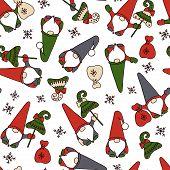 Christmas Gnomes With Gifts. Christmas Trees, Bags With Gifts, Snowflakes. Christmas, New Year, Fair poster