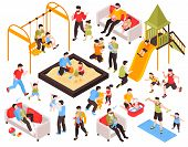 Fatherhood Isometric Set Of Fathers Engaged In Activities Or Care With Their Kids Isolated Vector Il poster