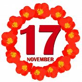 November 17 Icon. For Planning Important Day. Banner For Holidays And Special Days With Flowers. Nov poster