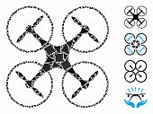 Quadcopter Icon Mosaic Of Raggy Pieces In Different Sizes And Color Hues, Based On Quadcopter Icon.  poster