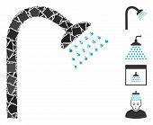 Shower Icon Mosaic Of Raggy Items In Various Sizes And Shades, Based On Shower Icon. Vector Rough It poster