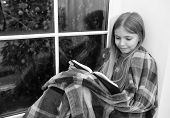 Magic Xmas Spirit. Little Girl Enjoy Reading Christmas Story. Little Reader Wrapped In Plaid Sit On  poster
