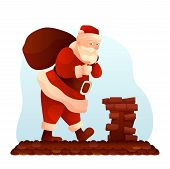 Santa Claus Carrying Sack To Chimney Illustration. New Year, Christmas Holiday Design Element. Santa poster