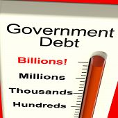stock photo of billion  - Goverment Debt Meter Shows Nation Owing Billions - JPG