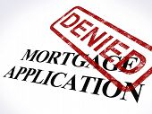 stock photo of borrower  - Mortgage Application Denied Stamp Showing Home Finance Refused - JPG