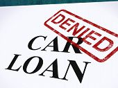 stock photo of denied  - Car Loan Denied Stamp Showing Auto Finance Denied - JPG