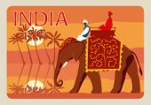 Retro Postcard India. Indians On An Elephant, In The Background A Jungle, Palm Trees, A River, The M poster