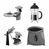 Vector Illustration Of Process And Farming Icon. Collection Of Process And Plant Stock Symbol For We poster