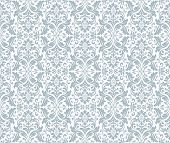 Wallpaper In The Style Of Baroque. Seamless Vector Background. White And Blue Floral Ornament. Graph poster