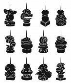 Canape Of Appetizer Black Vector Illustration On White Background .canape For Buffet Set Icon. Vecto poster