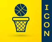 Blue Basketball Ball And Basket Icon Isolated On Yellow Background. Ball In Basketball Hoop. Vector  poster
