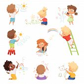 Kids Artists. Childrens Playing And Drawing Painting With Colored Crayons On Paper Vector Funny Cute poster
