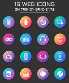 Gadget Icon Set. Gadget Web Icons On Round Trendy Gradients poster