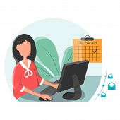 Business Woman Working On A Laptop With Email Icon. Business Woman Receiving Email. Business Woman S poster