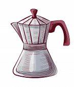 Old-fashioned Moka Pot For Brewing Espresso Coffee, Steel Java Equipment With Handle And Lid. Drawin poster