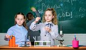 Future Technology And Science Concept. Children Study Biology Or Chemistry School. School Education. poster