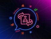 Technical Algorithm Line Icon. Neon Laser Lights. Project Documentation Sign. Glow Laser Speech Bubb poster