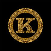 Premium, Elegant Capital Letter K In A Round Frame Is Made Of Floral Ornament. Baroque Style.elegant poster