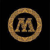Premium, Elegant Capital Letter M In A Round Frame Is Made Of Floral Ornament. Baroque Style.elegant poster