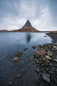 Famous Mountain With Waterfalls In Iceland,  Kirkjufell, Winter In Iceland, Ice And Snow, Reflection poster