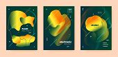 Techno Music Poster. Wave Gradient Blend. Night Club Festival. Dj Party. Gold House Music Poster. Gr poster